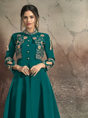 Teal Embroidered Tafeta Silk Designer Gown