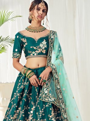 Teal Engagement Lehenga Choli