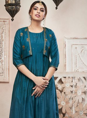 Teal Festival Palazzo Suit