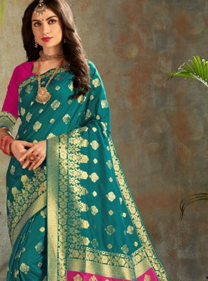Teal Festival Silk Saree