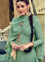 Teal Georgette Salwar Suit