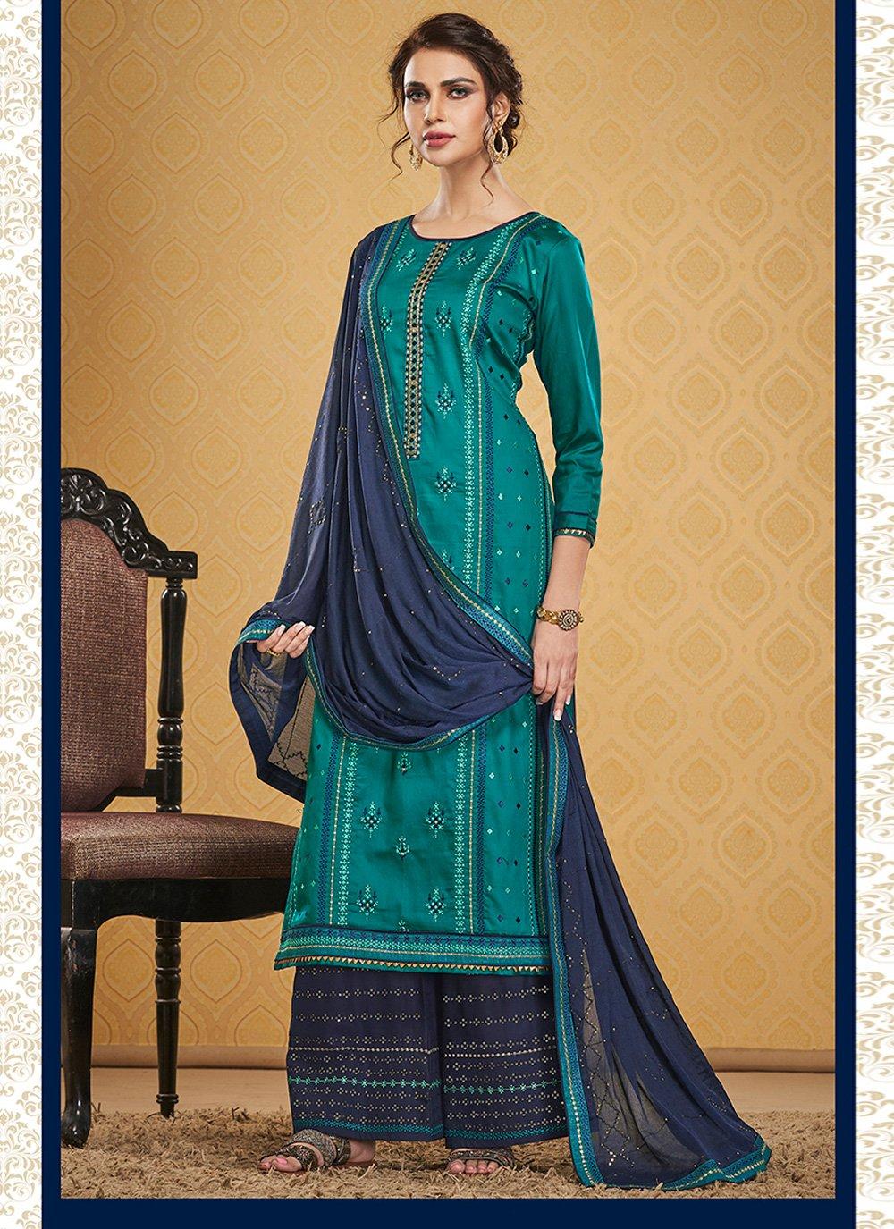 Teal Jamawar Silk Designer Palazzo Suit