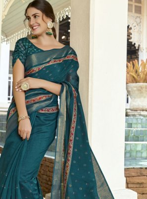 Teal Linen Casual Saree