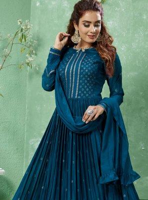 Teal Mehndi Art Silk Salwar Suit