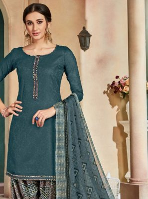 Teal Party Cotton Patiala Salwar Kameez