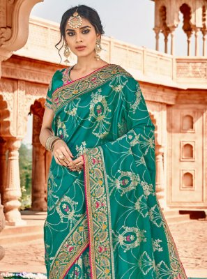 Teal Party Silk Saree