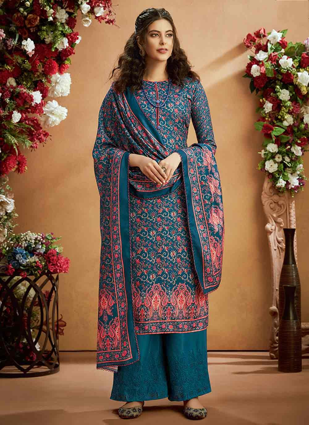 Teal Party Trendy Palazzo Salwar Suit