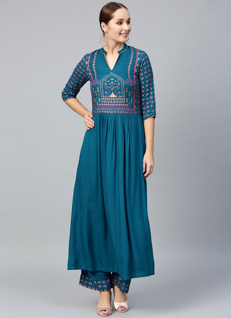 Teal Plain Viscose Party Wear Kurti