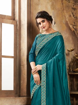 Teal Poly Silk Festival Silk Saree