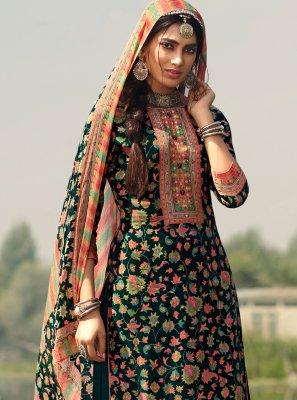 Teal Printed Pashmina Designer Palazzo Salwar Suit