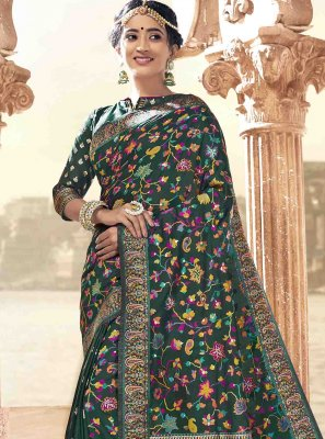 Teal Printed Saree