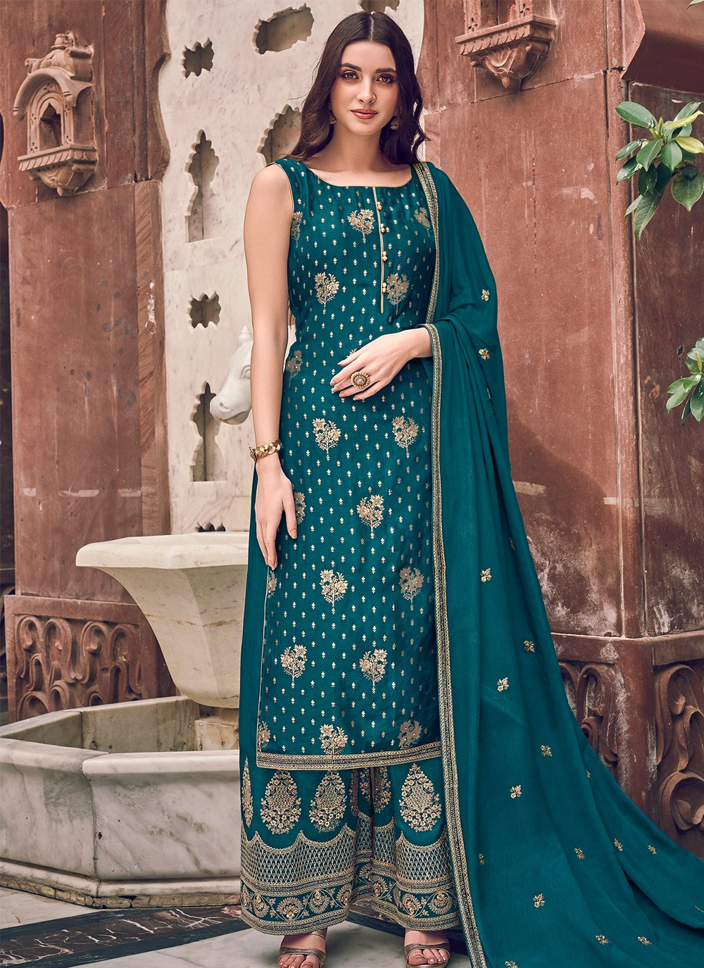 Teal Reception Bollywood Salwar Kameez
