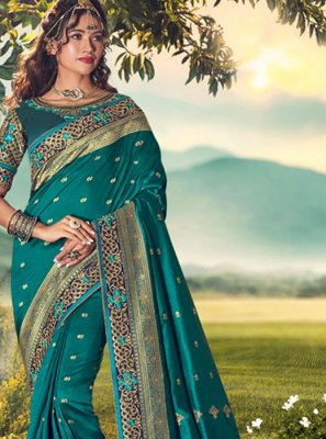 Teal Reception Silk Saree
