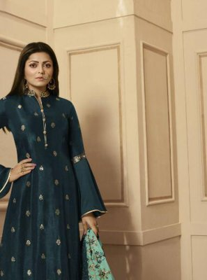 Teal Reception Trendy Palazzo Salwar Suit