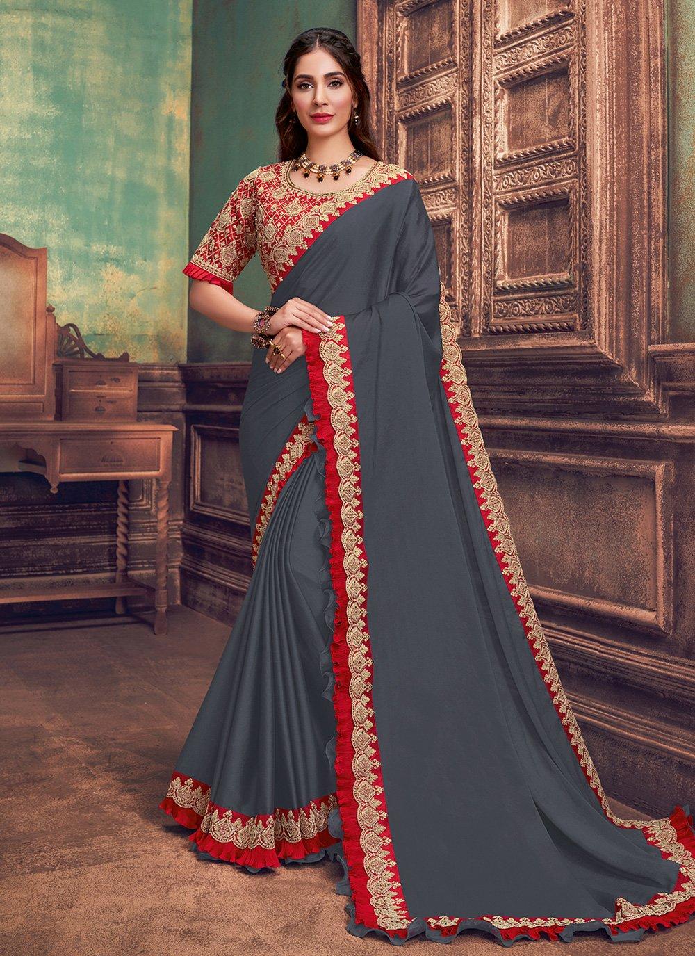 Teal Resham Silk Traditional Saree