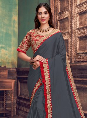 Teal Resham Silk Traditional Saree