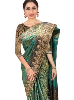 Teal Silk Classic Designer Saree