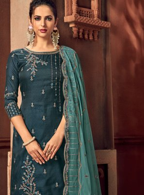 Teal Silk Embroidered Trendy Palazzo Salwar Suit