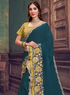 Teal Silk Festival Traditional Saree