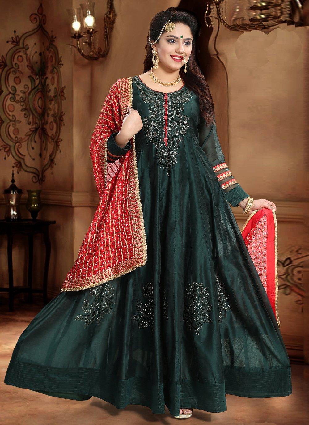 Teal Silk Handwork Designer Gown