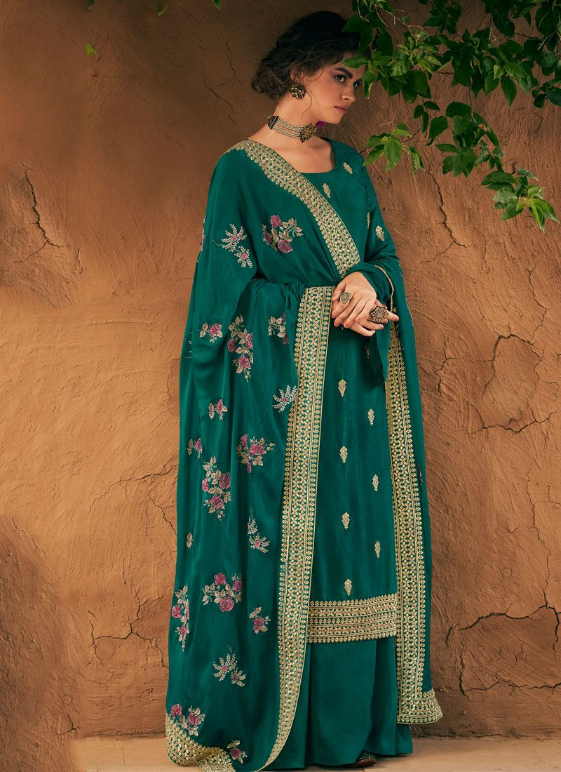 Teal Silk Palazzo Suit