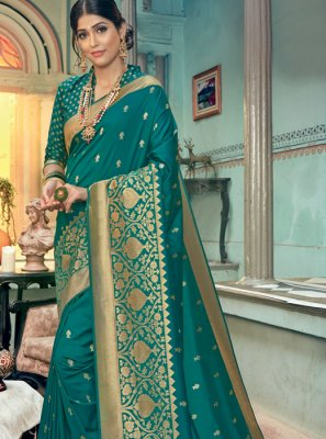 Teal Silk Reception Classic Designer Saree
