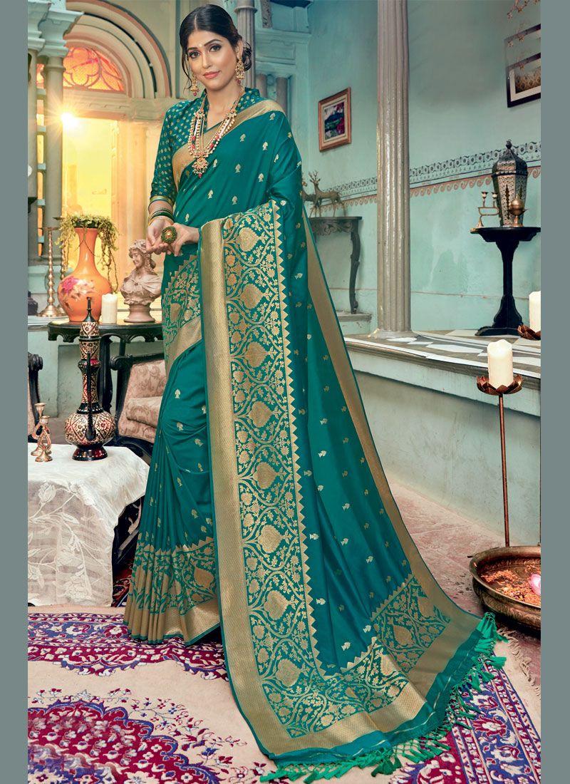 Teal Silk Reception Classic Designer Saree