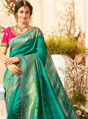 Teal Silk Saree