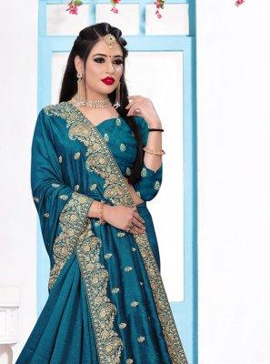 Teal Silk Trendy Saree