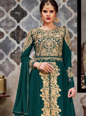 Teal Stone Trendy Long Length Salwar Suit