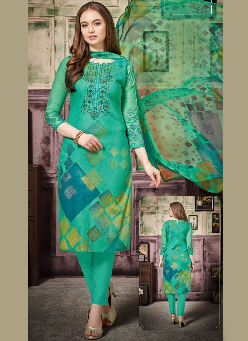 Teal Thread Work Cotton Pant Style Suit
