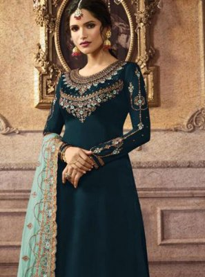 Teal Trendy Palazzo Salwar Suit
