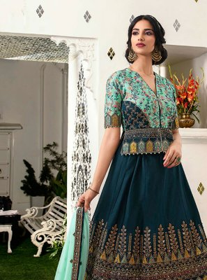 Teal Velvet Embroidered Lehenga Choli