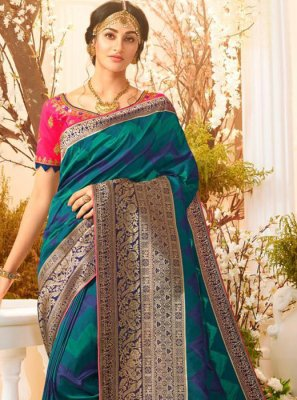 Teal Weaving Banarasi Silk Trendy Saree