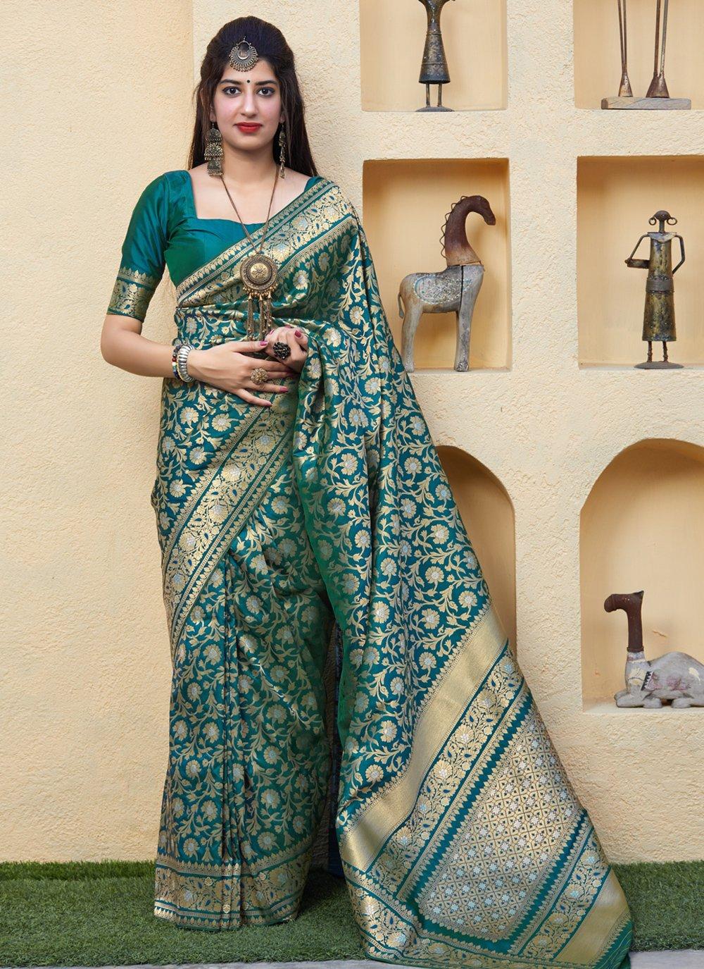 Teal Weaving Silk Saree