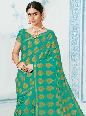 Teal Woven Silk Classic Saree