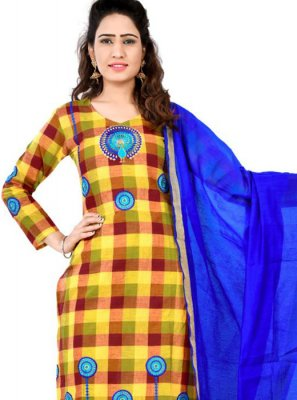 Thread Brown and Yellow Designer Salwar Suit