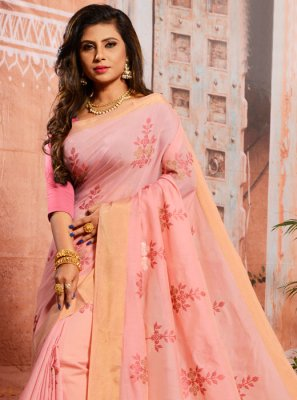 Thread Cotton Classic Saree in Pink