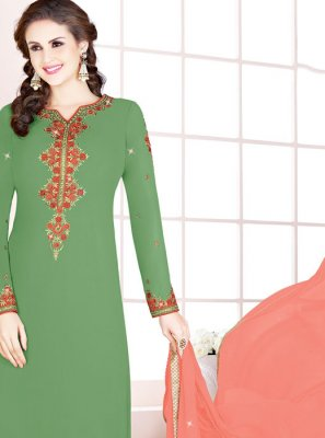Thread Georgette Designer Salwar Kameez in Green