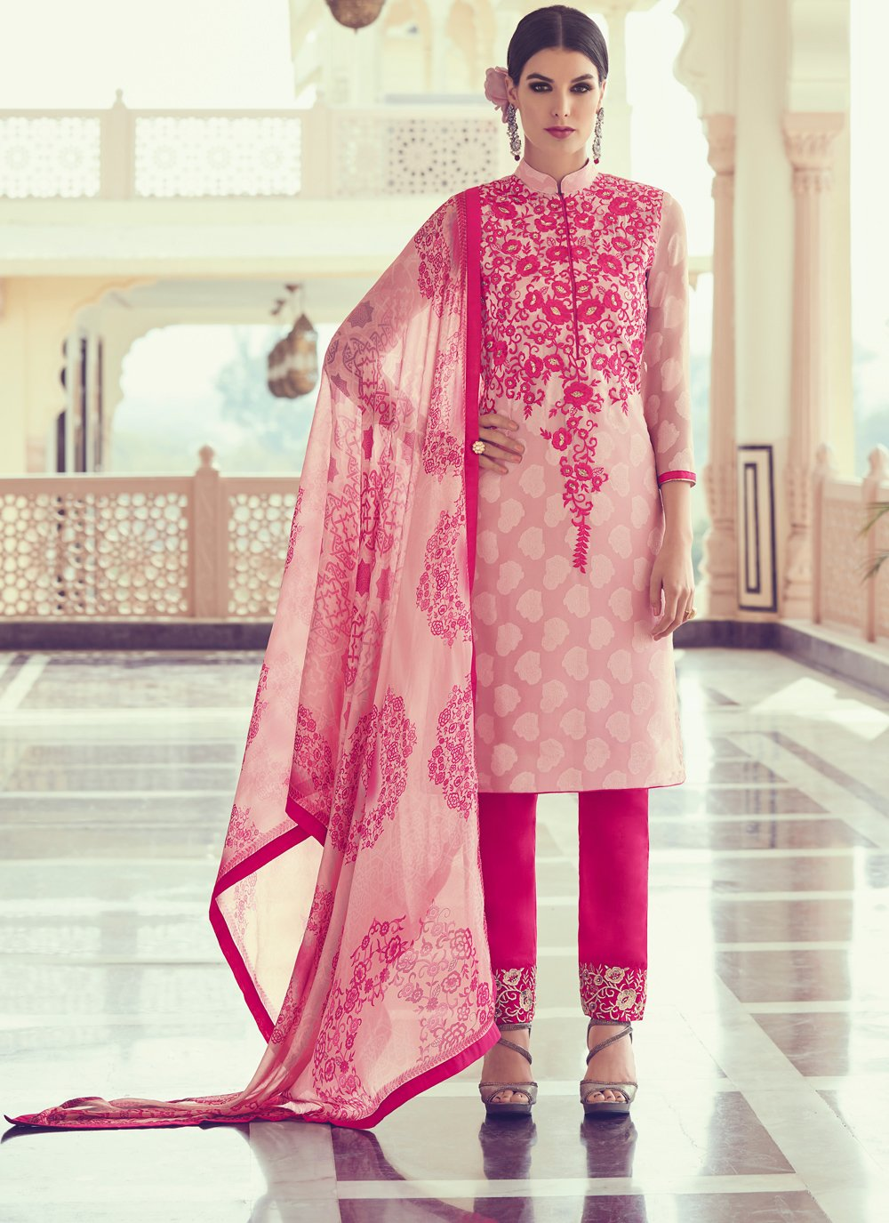 Thread Georgette Pink Salwar Kameez