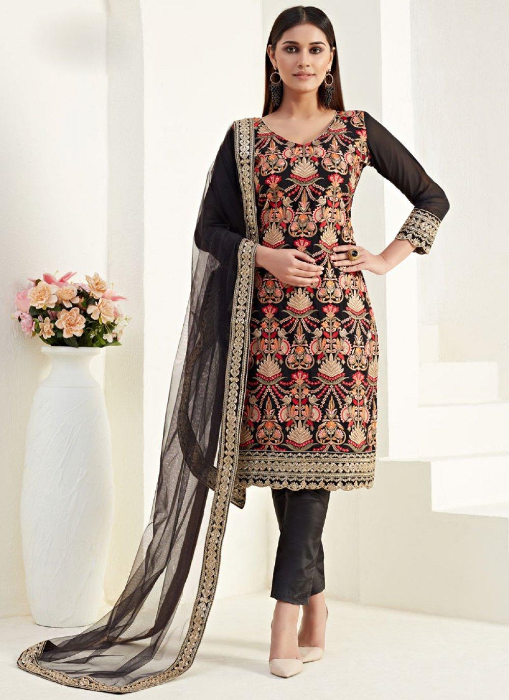 Thread Georgette Salwar Suit in Black