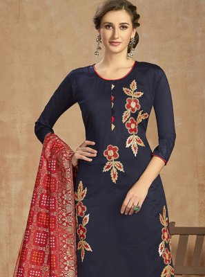 Thread Navy Blue Cotton Salwar Suit