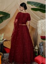 Thread Net A Line Lehenga Choli in Maroon