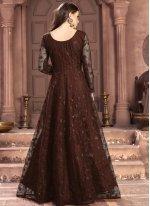 Thread Net Brown Trendy Salwar Suit