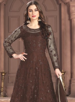 Thread Net Brown Trendy Salwar Suit