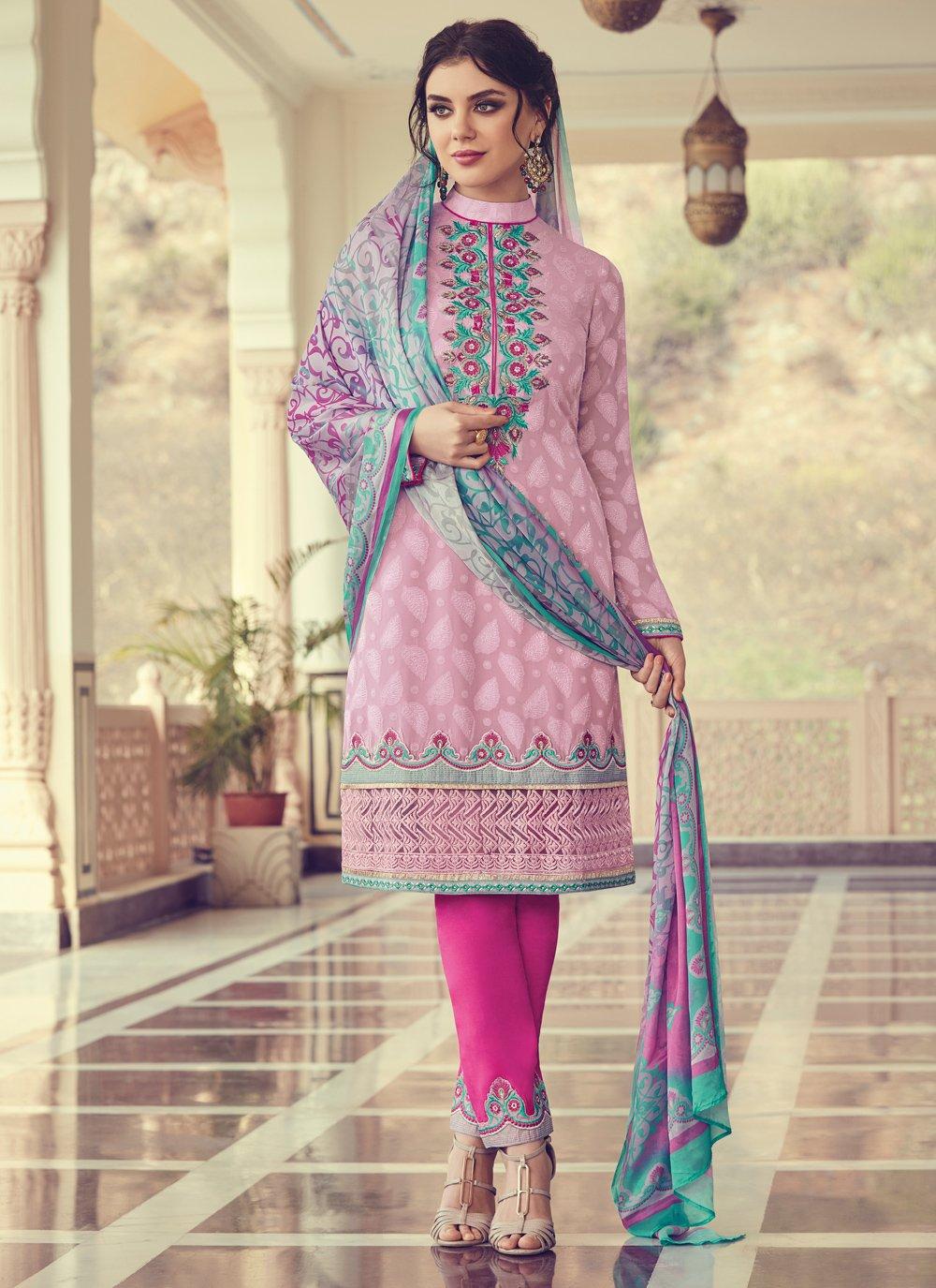 Thread Pink Georgette Trendy Salwar Suit