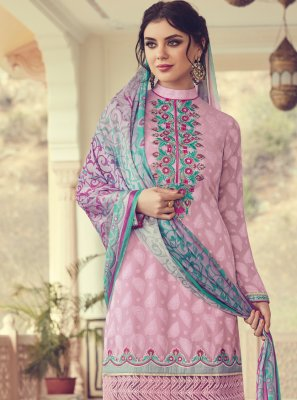 Thread Pink Georgette Trendy Salwar Suit