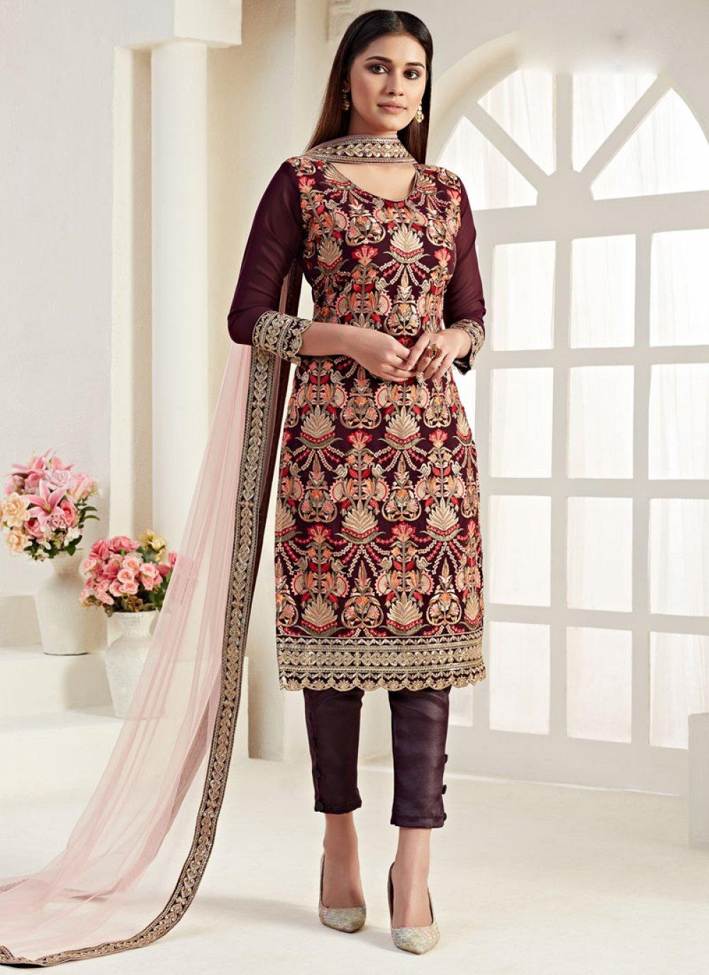 Thread Wine Georgette Trendy Straight Salwar Suit