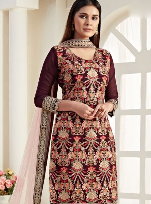 Thread Wine Georgette Trendy Straight Salwar Suit