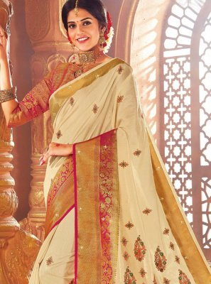 Thread Work Art Silk Designer Traditional Saree in Cream